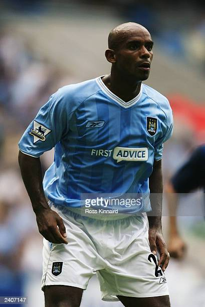 Trevor Sinclair of Manchester City in action during the PreSeason Friendly match between Manchester City and FC Barcelona held on August 10 2003 at...
