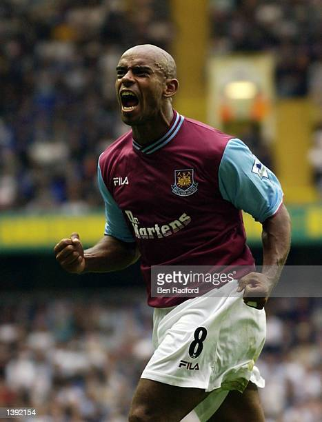 Trevor Sinclair of West Ham United celebrates scoring their second goal during the FA Barclaycard Premiership match between Tottenham Hotspur and...