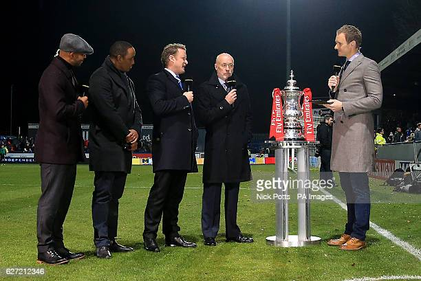 Trevor Sinclair Paul Ince Jamie Donaldson Sammy Mclroy and Dan Walker during the Emirates FA Cup Second Round match at Moss Rose Macclesfield