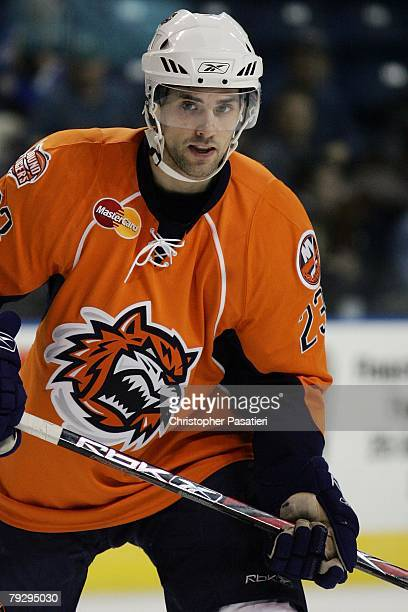 Trevor Smith of the Bridgeport Sound Tigers skates during the second period against the Philadelphia Phantoms on January 23, 2008 at the Arena at...