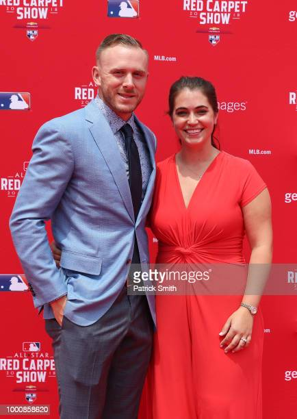 Trevor Story of the Colorado Rockies and the National League and guest attend the 89th MLB AllStar Game presented by MasterCard red carpet at...