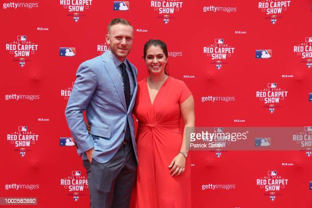 Trevor Story of the Colorado Rockies and the National League and guest attends the 89th MLB AllStar Game presented by MasterCard red carpet at...