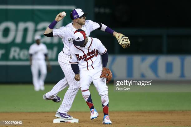 Trevor Story of the Colorado Rockies and the National League fields the ball in the sixth inning against the American League during the 89th MLB...