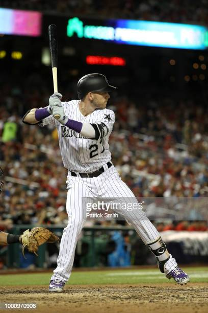 Trevor Story of the Colorado Rockies and the National League hits a solo home run in the seventh inning against the American League during the 89th...