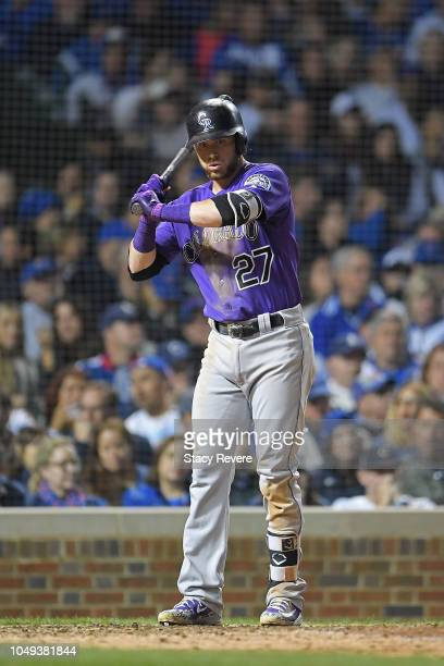 Trevor Story of the Colorado Rockies at bat during the National League Wild Card game against the Chicago Cubs at Wrigley Field on October 2 2018 in...