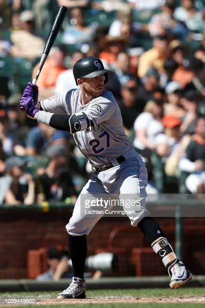 Trevor Story of the Colorado Rockies at bat in the sixth inning against the San Francisco Giants at ATT Park on September 16 2018 in San Francisco...