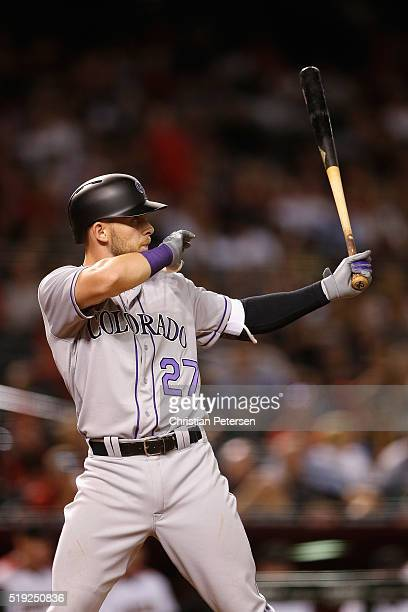 Trevor Story of the Colorado Rockies bats against the Arizona Diamondbacks during the MLB opening day game at Chase Field on April 4 2016 in Phoenix...