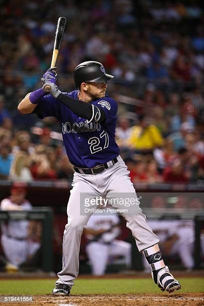 Trevor Story of the Colorado Rockies bats against the Arizona Diamondbacks during the third inning of the MLB game at Chase Field on April 6 2016 in...