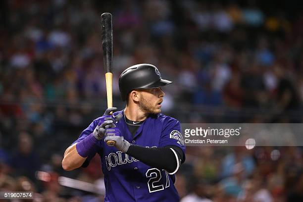 Trevor Story of the Colorado Rockies bats against the Arizona Diamondbacks during the MLB game at Chase Field on April 6 2016 in Phoenix Arizona