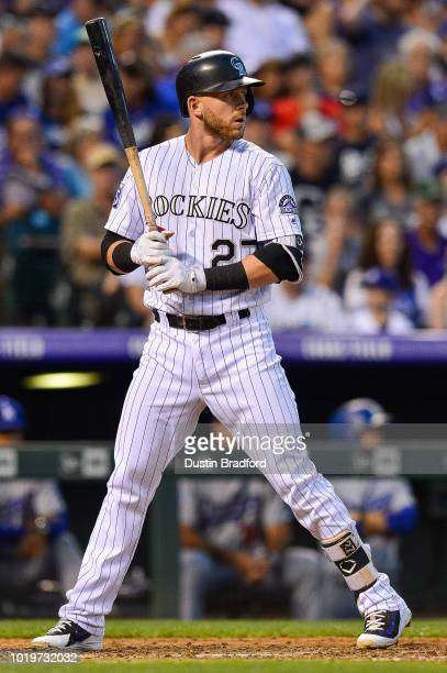 Trevor Story of the Colorado Rockies bats against the Los Angeles Dodgers at Coors Field on August 9 2018 in Denver Colorado