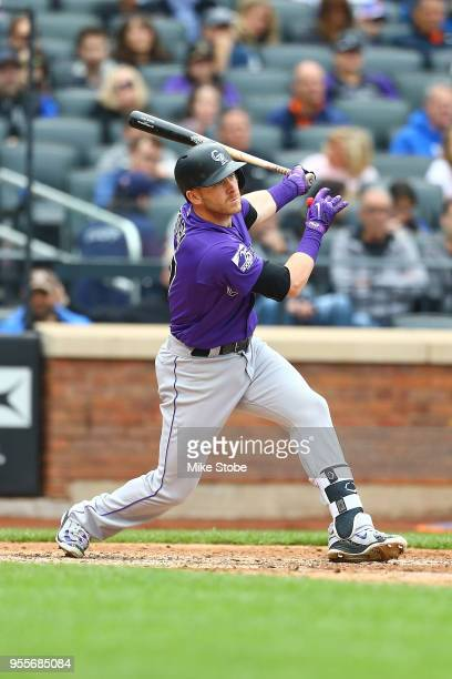 Trevor Story of the Colorado Rockies bats against the New York Mets at Citi Field on May 6 2018 in the Flushing neighborhood of the Queens borough of...