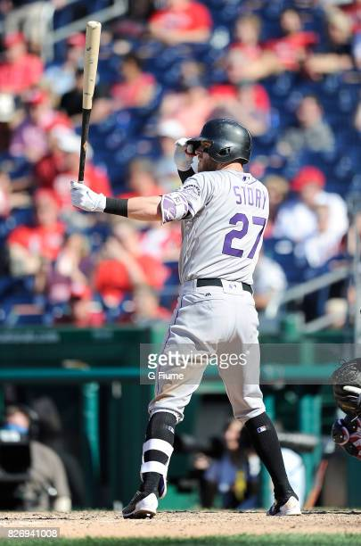 Trevor Story of the Colorado Rockies bats against the Washington Nationals at Nationals Park on July 30 2017 in Washington DC