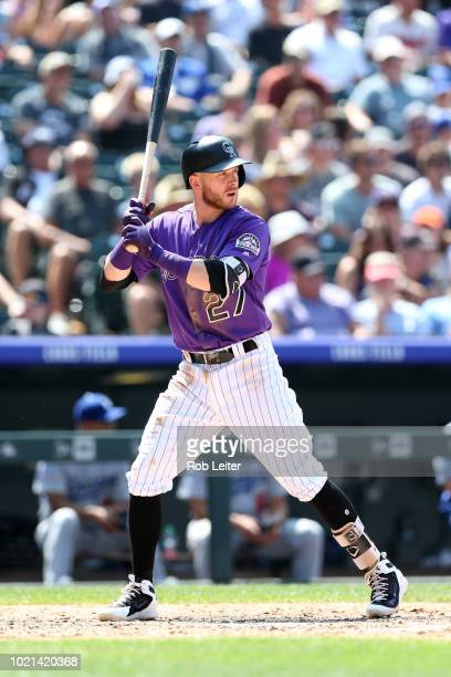 Trevor Story of the Colorado Rockies bats during the game against the Los Angeles Dodgers at Coors Field on August 12 2018 in Denver Colorado The...