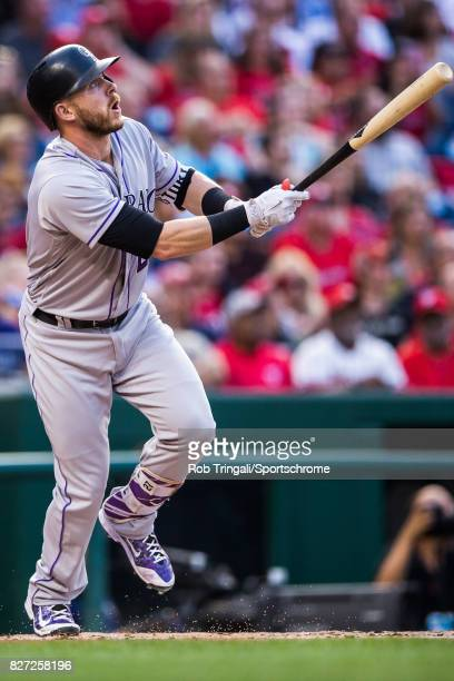Trevor Story of the Colorado Rockies bats during the game against the Washington Nationals at Nationals Park on July 29 2017 in Washington DC