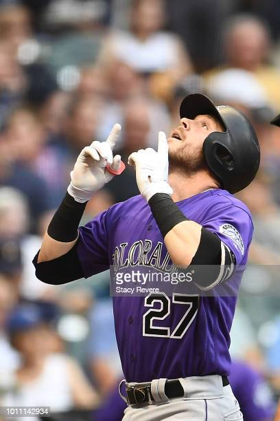 Trevor Story of the Colorado Rockies celebrates a two run home run during the fourth inning of a game against the Milwaukee Brewers at Miller Park on...