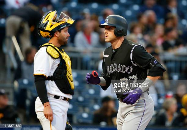 Trevor Story of the Colorado Rockies celebrates after hitting a home run in the second inning against the Pittsburgh Pirates at PNC Park on May 21,...