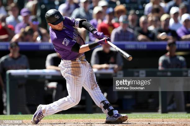 Trevor Story of the Colorado Rockies hits a 2 RBI home run in the third inning against the Arizona Diamondbacks at Coors Field on September 13 2018...