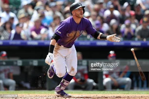 Trevor Story of the Colorado Rockies hits a double in the fourth inning against the Washington Nationals at Coors Field on April 24 2019 in Denver...