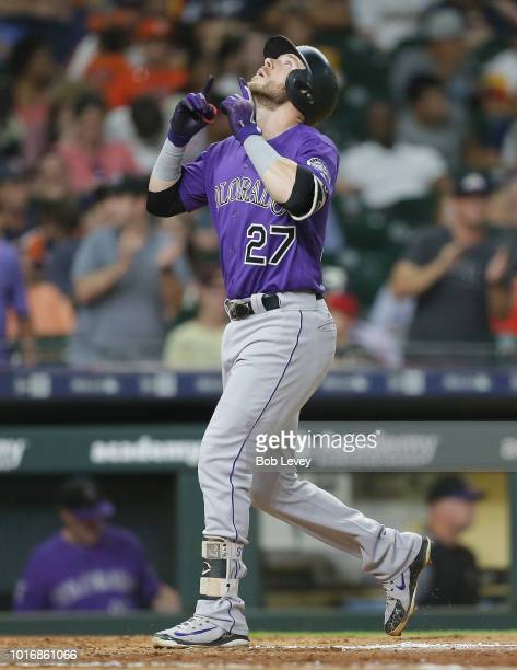 Trevor Story of the Colorado Rockies hits a home run in the eighth inning against the Houston Astros at Minute Maid Park on August 14 2018 in Houston...