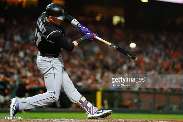 Trevor Story of the Colorado Rockies hits a solo home run during the fifth inning against the San Francisco Giants at Oracle Park on September 24...