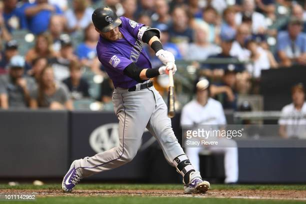 Trevor Story of the Colorado Rockies hits a two run home run during the fourth inning of a game against the Milwaukee Brewers at Miller Park on...