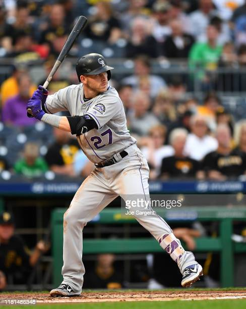 Trevor Story of the Colorado Rockies in action during the game against the Pittsburgh Pirates at PNC Park on May 22 2019 in Pittsburgh Pennsylvania