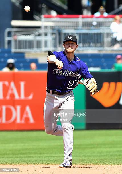 Trevor Story of the Colorado Rockies in action during the game against the Pittsburgh Pirates at PNC Park on May 23 2016 in Pittsburgh Pennsylvania
