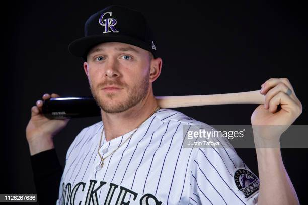 Trevor Story of the Colorado Rockies poses during MLB Photo Day on February 20 2019 at Salt River Fields at Talking Stick in Scottsdale Arizona