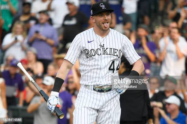 Trevor Story of the Colorado Rockies reacts during the 2021 T-Mobile Home Run Derby at Coors Field on July 12, 2021 in Denver, Colorado.