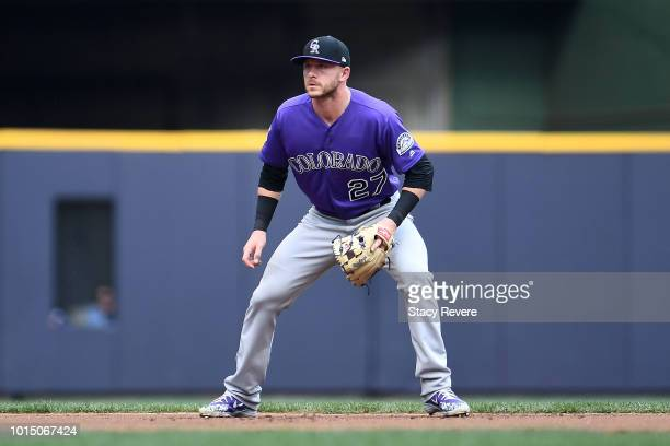 Trevor Story of the Colorado Rockies reacts to a hit during a game against the Milwaukee Brewers at Miller Park on August 4 2018 in Milwaukee...
