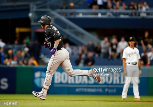 Trevor Story of the Colorado Rockies rounds second after hitting a home run in the second inning against the Pittsburgh Pirates at PNC Park on May...