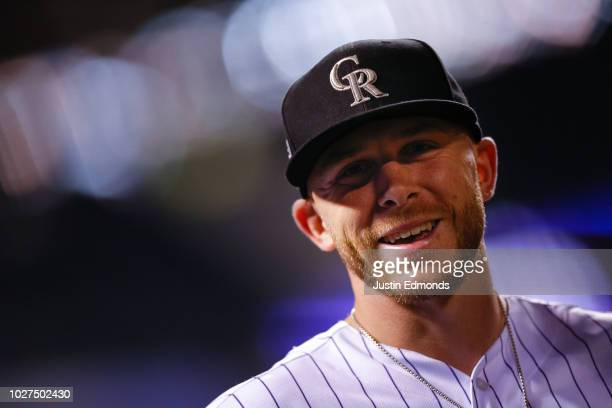 Trevor Story of the Colorado Rockies smiles after the Rockies 53 win against the San Francisco Giants at Coors Field on September 5 2018 in Denver...