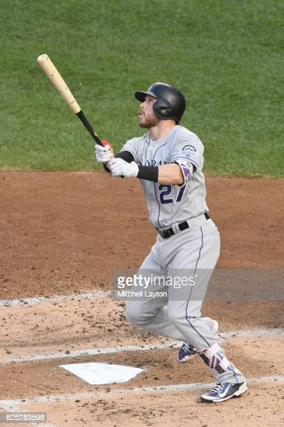 Trevor Story of the Colorado Rockies takes a swing during a baseball game against the Washington Nationals at Nationals Park on July 29 2017 in...