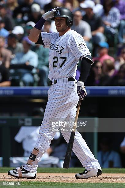Trevor Story of the Colorado Rockies takes an at bat against the San Diego Padres during opening day at Coors Field on April 8 2016 in Denver Colorado