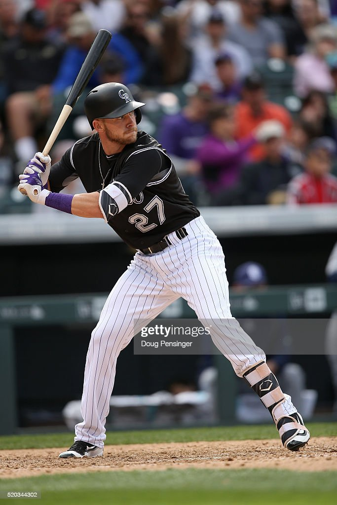 Trevor Story #27 of the Colorado Rockies takes an at bat against the San Diego Padres on April 10, 2016 in Denver, Colorado. Story set a Major League record as he hit his seventh home run through the first six games of the season as the Rockies defeated the Padres 6-3.