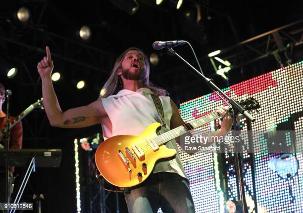 Trevor Terndrup and the rest of the band Moon Taxi perform during the Enterprise NHL AllStar Friday Night at Curtis Hixon Park on January 26 2018 in...