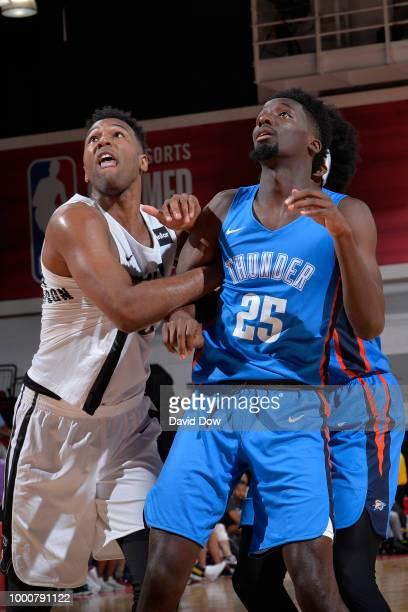 Trevor Thompson of the Brooklyn Nets battles for position against Daniel Hamilton of the Oklahoma City Thunder during the 2018 Las Vegas Summer...