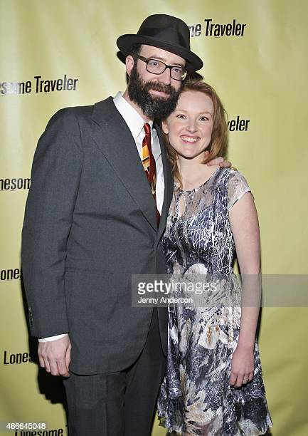 Trevor Wheetman and Sylvie Davidson attend the opening night party for OffBroadway's Lonesome Traveler at the Hudson Hotel on March 17 2015 in New...