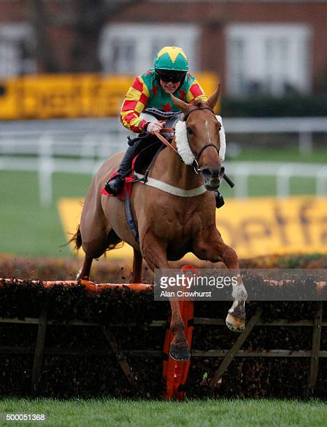 Trevor Whelan riding Lil Rockerfeller clear the last to win The Jumeirah Hotels And Resorts December Handicap Hurdle Race at Sandown racecourse on...
