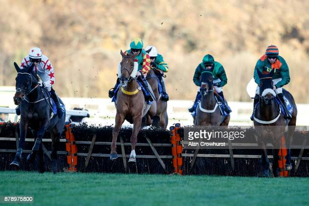 Trevor Whelan riding Lil Rockerfeller on their way to winning The Coral Hurdle Race at Ascot racecourse on November 25 2017 in Ascot United Kingdom