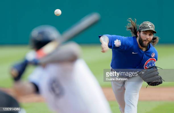 Trevor Williams of the Chicago Cubs pitches against the Detroit Tigers during the second inning at Comerica Park on May 15 in Detroit, Michigan.