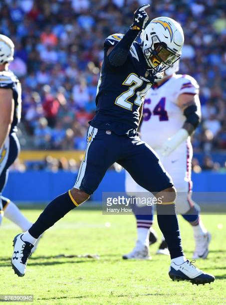 Trevor Williams of the Los Angeles Chargers celebrates during the first half of the game against the Buffalo Bills at the StubHub Center on November...