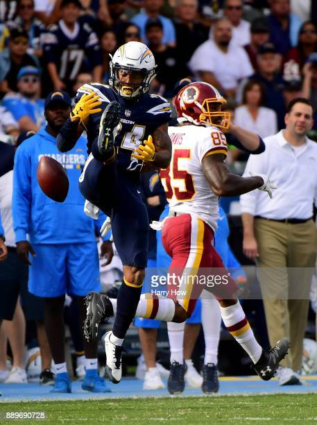 Trevor Williams of the Los Angeles Chargers knocks down the ball intended for Vernon Davis of the Washington Redskins resulting in an interception...