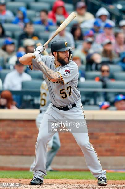Trevor Williams of the Pittsburgh Pirates bats in an MLB baseball game against the New York Mets on June 4 2017 at CitiField in the Queens borough of...