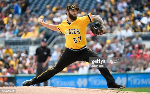 Trevor Williams of the Pittsburgh Pirates delivers a pitch in the first inning during the game against the Cincinnati Reds at PNC Park on September 3...