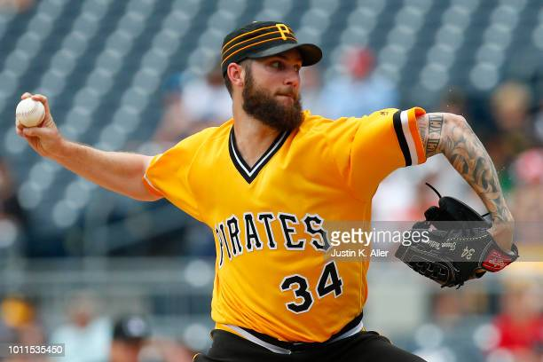 Trevor Williams of the Pittsburgh Pirates pitches in the first inning against the St Louis Cardinals at PNC Park on August 5 2018 in Pittsburgh...