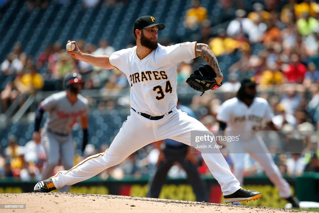 Trevor Williams #34 of the Pittsburgh Pirates pitches in the fourth inning against the Washington Nationals at PNC Park on July 11, 2018 in Pittsburgh, Pennsylvania.