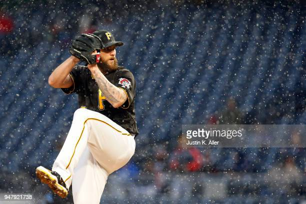 Trevor Williams of the Pittsburgh Pirates pitches in the third inning against the Colorado Rockies at PNC Park on April 17 2018 in Pittsburgh...