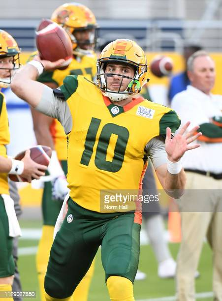 TrevorÊKnight of the Arizona Hotshots warms up before the Alliance of American Football game against the Salt Lake Stallions at Sun Devil Stadium on...