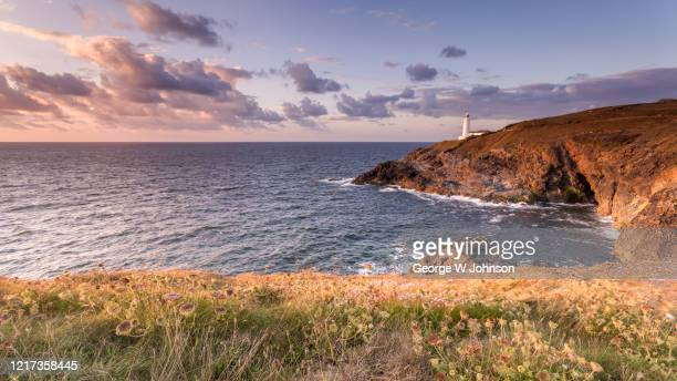 trevose head lighthouse - bay of water stock pictures, royalty-free photos & images